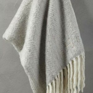 West Elm Herringbone Soft Touch Throw Platinum NWT